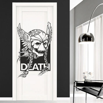 I169 Wall Decal Vinyl Sticker Art Decor Design skull wings tattoo monster face helmet room skull Mural Living Room Bedroom Modern Gift