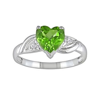 10k White Gold Peridot & Diamond Accent Heart Ring (Green)