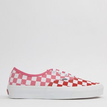 Vans Exclusive Red And Pink Checkerboard Authentic Trainers at asos.com