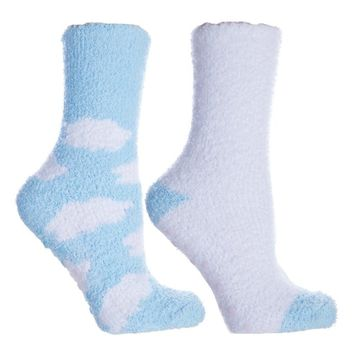 2 Pair Fluffy Chenille Socks — Clouds — New