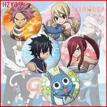 ZXFJXR 58MM Fairy Tail  Dragneel Erza Cute Animation Lucy Heartfilia Badge Pins Broochs Icons Backpack Round Badge