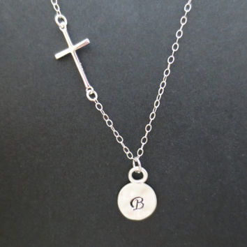 Cross, Initial, Coin, Necklace, Cross, Necklace, Sterlingsilver, Necklace, Bridesmaid, Necklace
