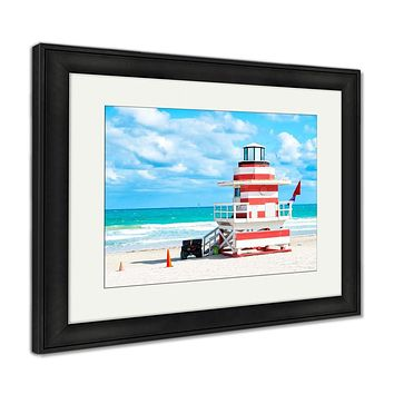 Framed Print, South Beach Miami Florida Lifeguard House In A Colorful Art Deco Red And Whhite