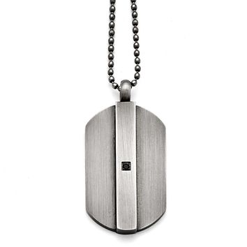 Antiqued Brushed Stainless Steel & Black CZ Dog Tag Necklace, 20 Inch