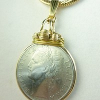 Italian 100 Lire 1957 Coin Pendant Gold Filled Snake Chain Necklace | dianesdangles - Jewelry on ArtFire