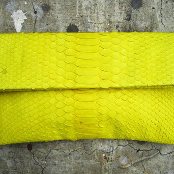 Yellow Fold Over Python Snakeskin Leather Clutch by linmade