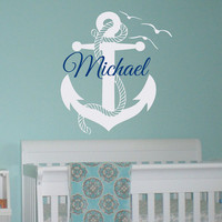 Initial Name Wall Decal Nautical Anchor Wall Decals Personalized Initial Name Monogram Nursery Kids Boys Teens Room Playroom Home Decor M039