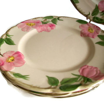 Vintage Ceramic Franciscan Desert Rose Pattern Salad Plates Set of 4