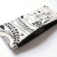 Organic Canvas Pencil Case, Cute Zipper Pouch, Back to School, Gift for Girls, Black and White Print, Small Make up Bag, Handmade Stationary