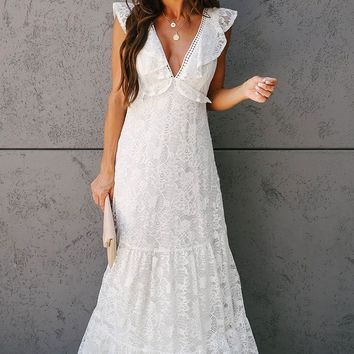 All My Love Lace Tiered White Maxi Dress