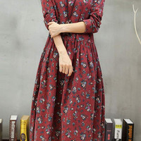 Burgundy Floral Print Long Sleeve Midi Dress