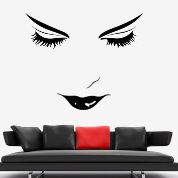 Wall Vinyl Sexy Girl Eyes Make Up Haricut Barbershop Decor z3748