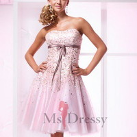 A-line Strapless Tulle Knee-length Dress at Msdressy