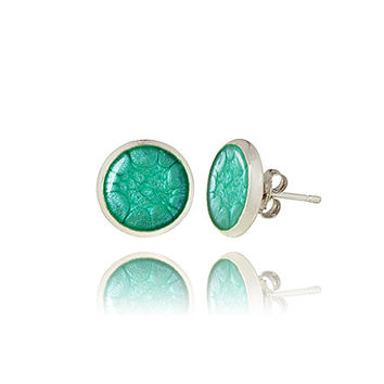 Turquoise silver Stud Earrings Small elegant jewelry Skyline inspiration  Mother s day Minimalist style Gift for her 6e193add3126