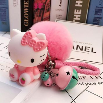 Japan Cartoon Cute Hello Kitty Fluffy Rabbit Fur Ball Keychains Leather Rope Small Bells Key Rings Fur Pompom Women Bag Pendant