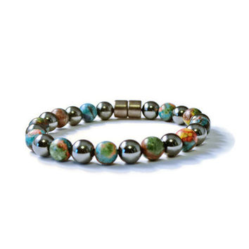 Hematite & Rainbow Stone High Power Magnetic Therapy Bracelet