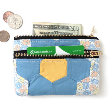 Quilt Wallet Coin Purse Double Zipper Pouch Recycled