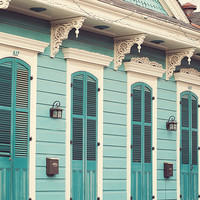 Creole Cottage - New Orleans, French Quarter, Color Photography, Pastel Turquoise Blue, Spring Home Decor, Doors, Architecture