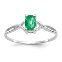 14k White Gold Genuine Emerald May Birthstone Ring