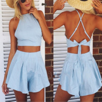 Pale blue chinese-style chest covering type two-piece lace-up back short paragraph