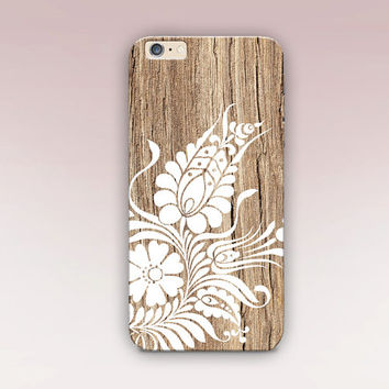 Floral Wood Print Phone Case- iPhone 6 Case- iPhone 5 Case - iPhone 4 Case - Samsung S4 Case - iPhone 5C - Tough Case - Matte Case - Samsung