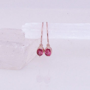 Mahenge Spinel 14k Rose Gold Bezel Set Dangle Earrings Neon Pink Fine Gemstone Jewelry