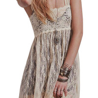 Maxi Lace Dress With Square Neck in Beige or Black
