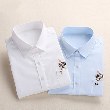 Women White Office formal Blouse Femme Blusas Ladies Long Sleeve Top Casual Solid Cotton Embroidery Shirt Plus Size 5XL