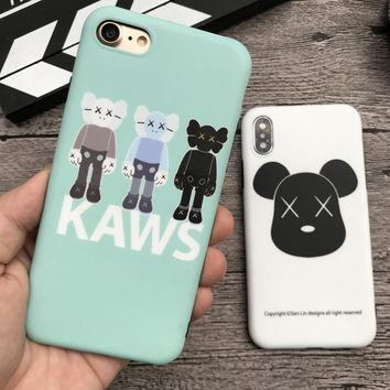 New cute Kaws Toys soft cover case for iphone 6 6S S plus 7 7plus 8 8plus X 10 Cartoon bear phone cases coque fundas capa