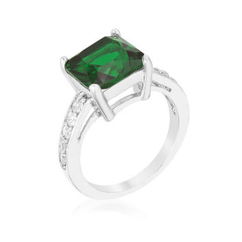 Cushion Cubic Zirconia Simulated Emerald Engagement Ring