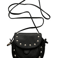 Black Saddle Stud Crossbody Bag