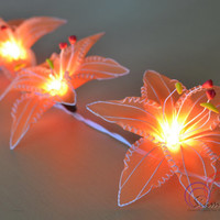 Orange Lilly Colorful Fairy Flowers Lighting Modern Lighting String Lights for home decorate 20 Lights/Set