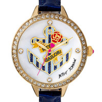 Betsey Johnson Ladies Striped Anchor Gold-Tone Watch