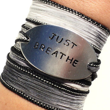 Just Breath Silk Wrap Bracelet Yoga Jewelry Handmade Silver Hand Stamped Unique Gift For Her Christmas Stocking Stuffer Under 50 Item Z35