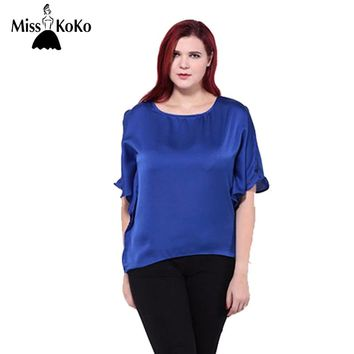 MissKoKo 2017 Summer Women Plus Size Cape Sleeve Hollow Out Summer Casual Asymmetrical Hem Tops Big Size T-Shirt 3XL 4XL 5XL 6XL