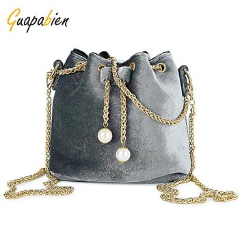 Guapabien Metal Chain Drawstring Shoulder Bag Evening Party Tote Bags for Women