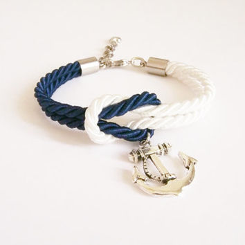 White & Navy blue nautical rope bracelet,  tie it knot , rope jewelry ,rope bracelet ,silver anchor, sailor knot ,friend gift