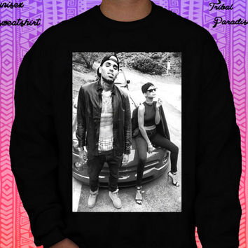 Chris Brown X Rihanna Crewneck Sweatshirt by TribalParadise