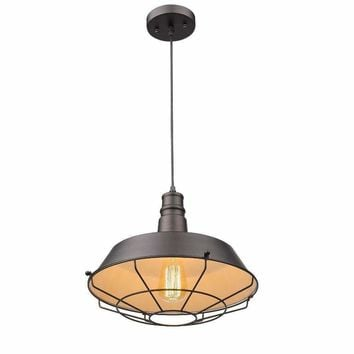"Ironclad, Industrial-Style 1 Light Rubbed Bronze Ceiling Mini Pendant 14"" Shade"