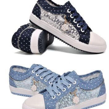 Canvas shoes with lace sides and polka dots  Sizes:  5 - 9