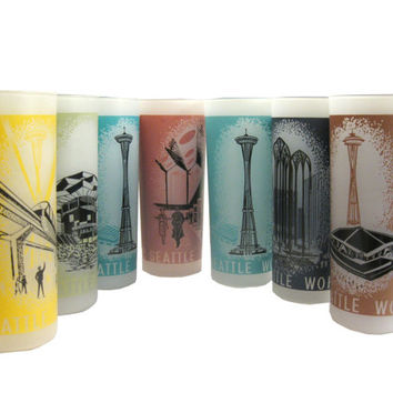 Seattle World Fair 1962 Frosted Tumbler Glasses
