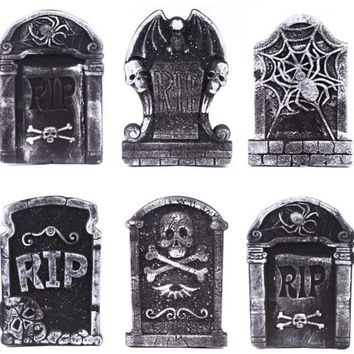 Halloween Foam Tombstone Skeleton Tombstone Haunted House RIP Stone Grisly Props Party Decor Yard Decoration(Random Style
