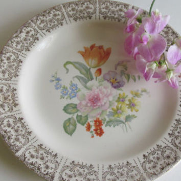 Art Deco China Plate 23 Karat Gold Plate Century by Salem China Floral Plate Made in Usa
