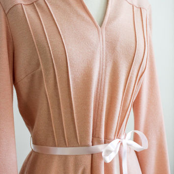 60s Soft Knit Dress. Pale Pink. Satin Belted. MED Size 12 // A line. Flare Skirt - Vintage Designer Couture, Harzfelds // NY Pretty Dress.