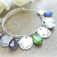 Mother's bracelet Tree of Life Grandma Personalized Bracelet Expandable Hand stamped Jewelry
