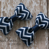Chevron Hair Clips, Set of 2 Hair Clips, Light Navy Blue, Simple Bow Tie Tuxedo Hairbows, Pigtails or Toddler Hair, 2 1/2 inch Bow, 2.5 Inch