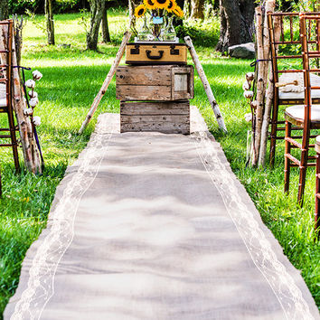 Lace Lined Burlap Aisle Runner