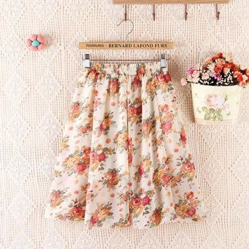 DKF4S 2017 Summer New Bohemian Chiffon Women Knee-length A-line Skirt Flower Print High Waist Loose One Size Tutu Skirt