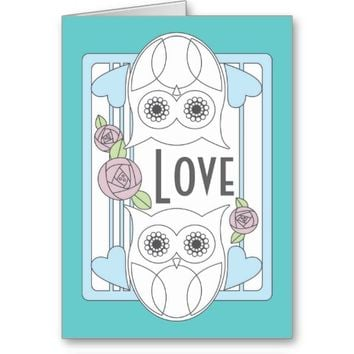 Retro Cute Owls & Roses Personalized Love Greeting Cards: Wedding, Valentine's Day, Mother's Day, or Any Anniversaries