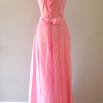 pink maxi dress - 70s vintage Miss Elliette bright pastel cotton candy long ruffle pleated bow hippie boho feminine cocktail party gown